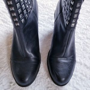 Rialto Shoes - Moto Style Studded Heeled Boots Size 8.5